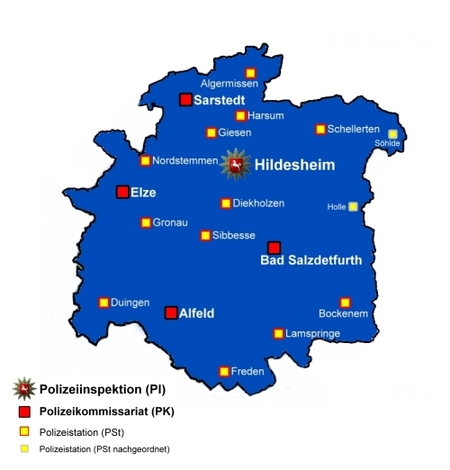 Karte der Polizeiinspektion Hildesheim